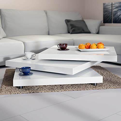 Deuba Couchtisch Wohnzimmertisch Hochglanz Beistelltisch Tisch Sofatisch Tischplatte 360 Drehbar 60 X 60 Cm Weiss Wohnzimmertisch Holz Com Wohnzimmertisch Wohnzimmermobel Modern Beistelltische Wohnzimmer