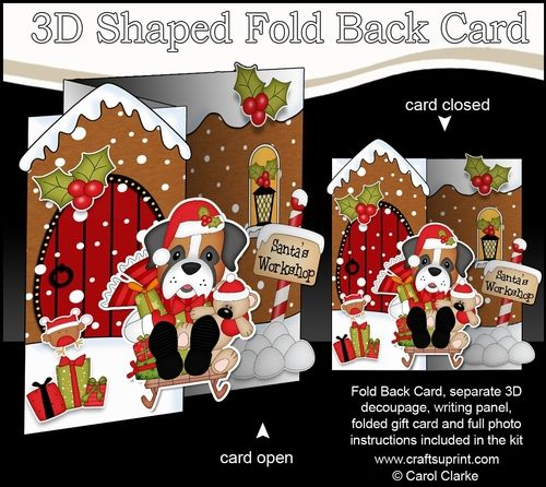 3d Shaped No Hole Fold Back Christmas Card Kit Little Boxer Dog Christmas Cards Card Kit Spotty Dog
