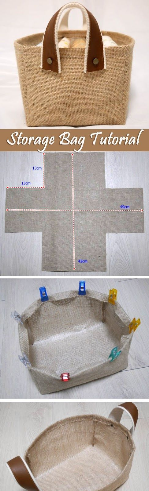 Storage Fabric Burlap Box Pattern and Tutorial. Bag Step by step photo tutorial…: