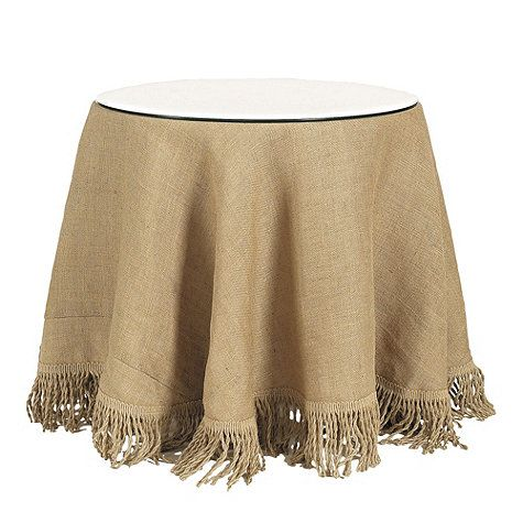 Burlap Tablecloth with Jute Fringe: