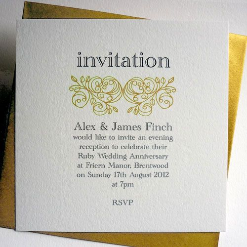 Golden Wedding Anniversary Party Invitations – Golden Wedding Party Invitations