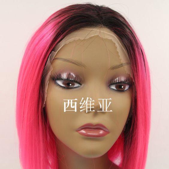 Fashion cosplay wig pink ombre wig dark roots short cheap bob wig ...