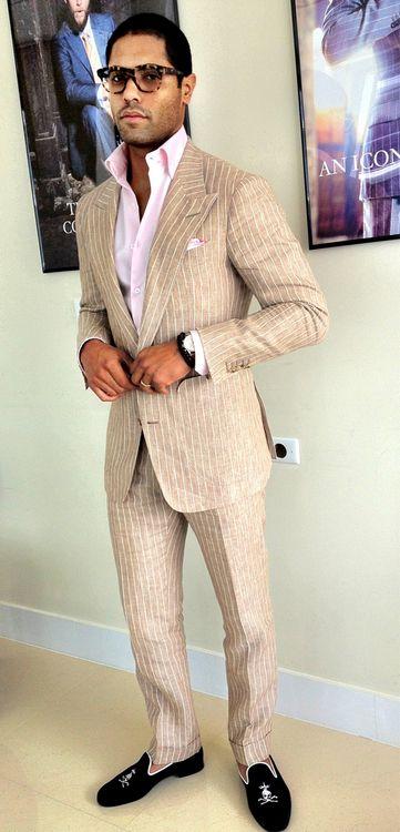 Cool Summer Linen Custom Suit paired with Black Linen Persona Bespoke Slippers. #WIWT Angel | Bespoke for Astor Black