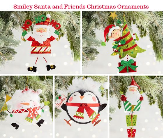 Smiley Santa and Friends Christmas Ornaments