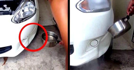 Il se sert de l'eau bouillante pour réparer la bosse sur sa voiture !