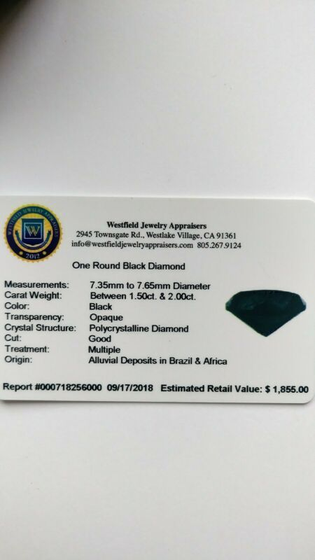 Valuable Certified 1 5 2 Carat Loose Natural Black Color Round Brilliant Diamond 6 8mm Brilliant Diamond Round Brilliant Diamond 2 Carat