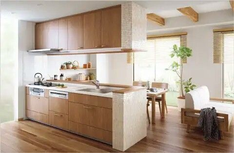 セミオープンキッチン 吊り戸棚付き キッチンのデコレーション