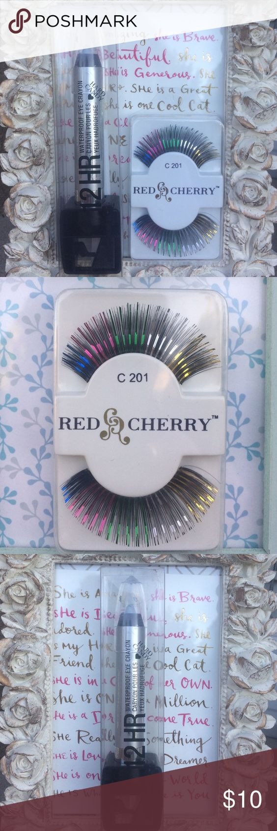 """Multi colored eyelashes and eye crayon New-Multi colored red cherry costume eyelashes and Hard Candy -12 hour waterproof """"gladiator"""" silver eye crayon combo  .the crayon seems to be loose inside the pencil. Hard Candy Makeup False Eyelashes"""