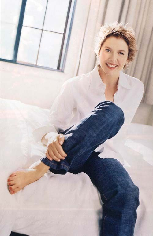 Annette Bening white shirt and jeans