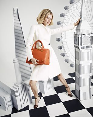 Rosamund Pike in L.K.Bennett AW13 Campaign ... lovely coat, bag & shoes ... seen in Sept 2013 Lucky Mag