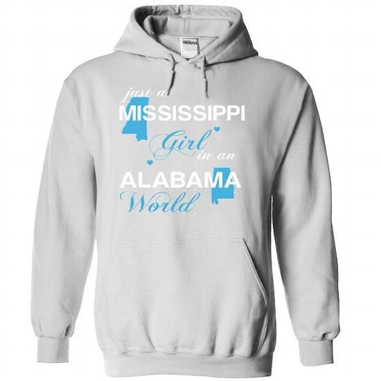 (MSJustXanh001) Just A Mississippi Girl In A Alabama Wo - #t shirt #boys hoodies. ORDER HERE => https://www.sunfrog.com/Valentines/-28MSJustXanh001-29-Just-A-Mississippi-Girl-In-A-Alabama-World-White-Hoodie.html?id=60505