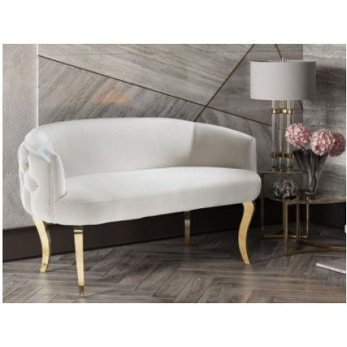 White Velvet Crystal Tufted Settee Gold Legs Loveseat With Images Love Seat