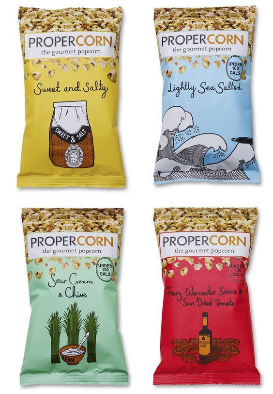 """""""Propercorn"""" popcorn single serve packaging bag. #sachet #plastiques #plastic #bags #pillow #single #serve #emballage #zip #souple #sacs"""