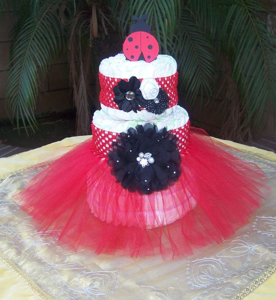 Tutu diaper cake kit red ladybug it s a girl baby