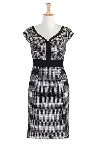 I <3 this Houndstooth tweed sheath dress from eShakti