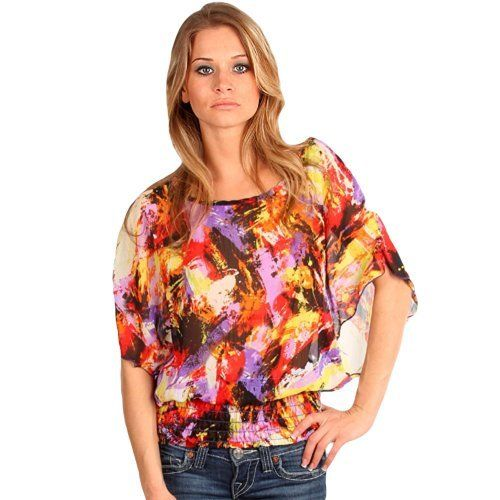 Abstract Print Flared Sheer Top With Elastic Waist Size Large Joni Jay. $22.99. Save 26% Off!