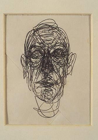 Autor: ALBERTO GIACOMETTI Pen on paper (boligrafo sobre papel) h: 4.9 x w: 3.8 in / h: 12.4 x w: 9.7 cm  imagen creada por adicion.