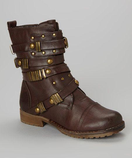 Brown Mairo Multi-Strap Steampunk Boot