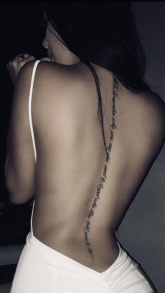 Tattoo Back Tattoo English Short Sentence Tattoo Spinal Tattoo Tattoo Quotes Meaningful Tattoo Creativ Spine Tattoos For Women Spine Tattoos Spinal Tattoo