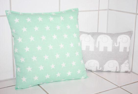 Kissen - Kinderkissen Sterne mint weiß 30x30 Stoffwahl! - ein Designerstück von…