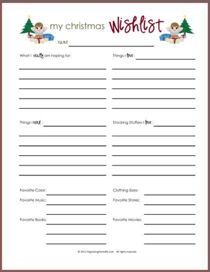Christmas Wish List Printable for Boys