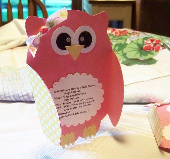 Baby Shower Decorations Using Cricut ~ Owl invites using paisley cricut cartridge nellies