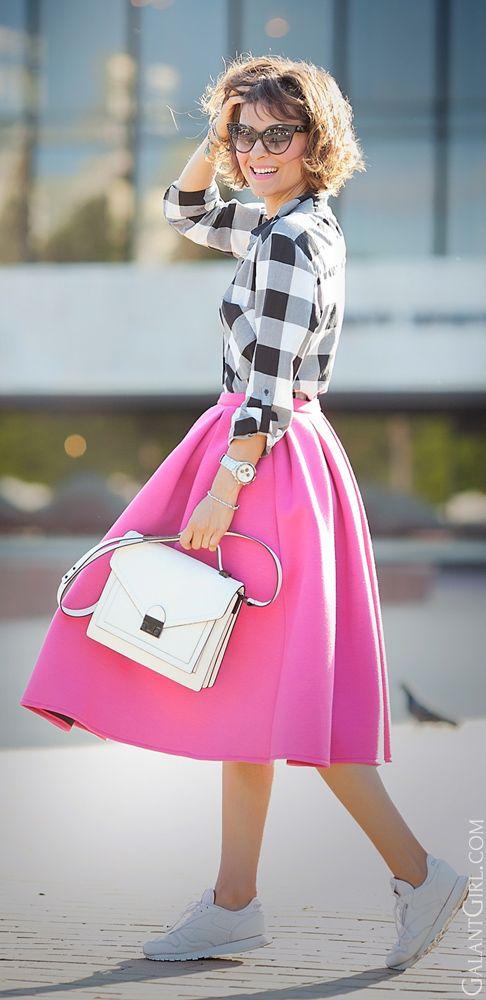 Plaid shirt, bright midi skirt