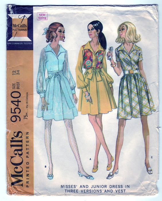 Vintage 1968 McCall's 9540 Sewing Pattern Misses' and Junior's Dress in Three Versions and Vest Size 12 Bust 34