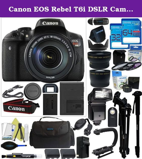 Canon EOS Rebel T6i DSLR Camera with 18-135mm Lens + Pixi-Pro Accessory Bundle. Packing a high resolution 24.2-megapixel CMOS sensor and the DIGIC 6 Image Processor into a compact body is the EOS Rebel T6i DSLR Import Camera from Canon. This system enables shooting in a wide variety of conditions, from bright sunlight to dim indoor scenarios due to ISO performance of up to 12,800, which can be expanded to 25,600. The APS-C camera also has built-in Wi-Fi connectivity with NFC that allows…