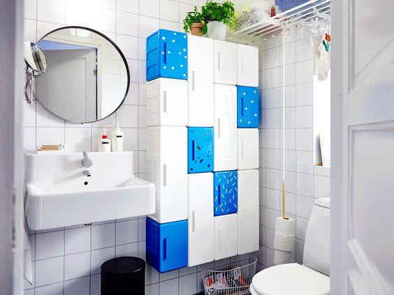 IKEA LEJEN Schränke in Weiß und Blau, in verschiedenen Größen ...