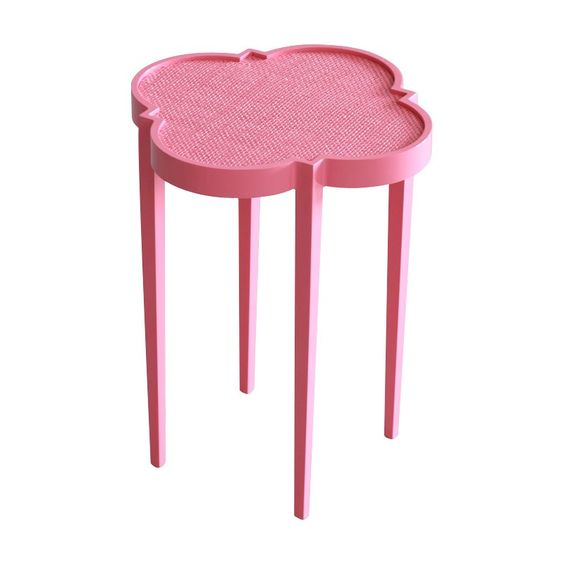 16 x 16 x 20h tini IV cocktail tables eros pink painted raffia