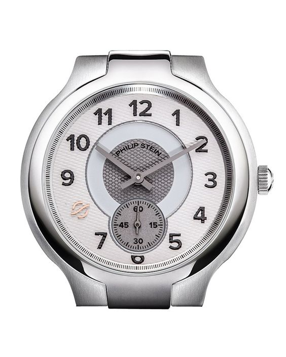 Philip Stein Large Stainless Steel Small Round Watch Head, White/Gray, Women's, Size: L