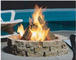 Outdoor Gas Fire Pit Fake Logs Stone Surround Outdoor