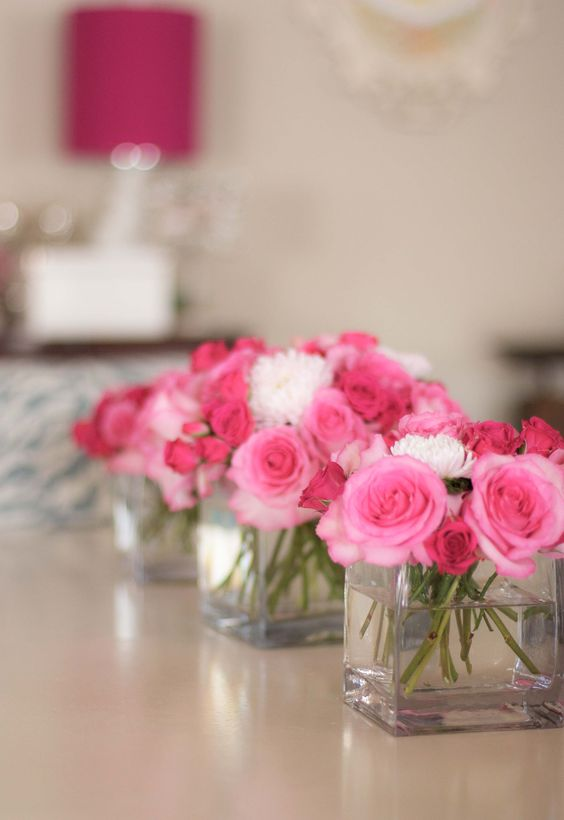 Simple arrangement ideas for the tables if you want to go for Small flower decorations for tables