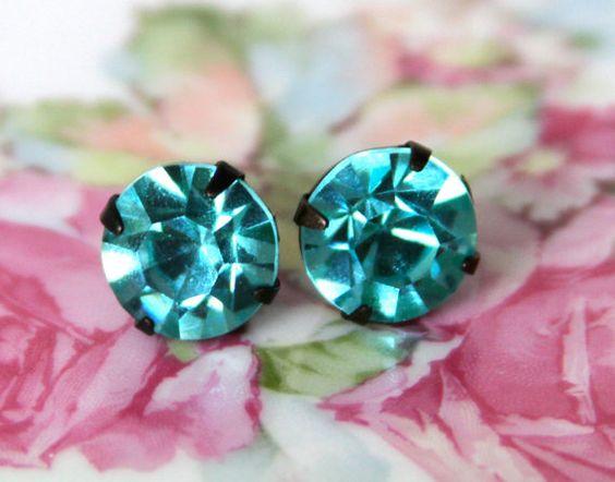 Vintage Aqua Blue Pricosa Glass Rhinestones In Blackened Brass Setting Post Earrings, $16