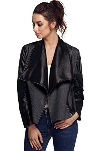 FINEJO Womens Long Sleeve Ladies Stretch Wet Look Waterfall PU Trim Open Cardigan Jacket Coat -- Review more details @ http://www.amazon.com/gp/product/B016OHDIME/?tag=clothing8888-20&pde=230716064518