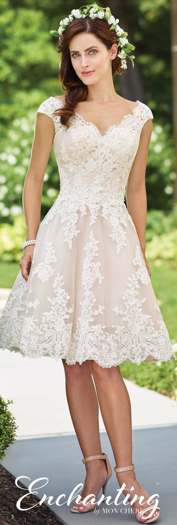Enchanting by Mon Cheri Spring 2017 Wedding Gown Collection - Style No. 117185 - lace short wedding dress with cap sleeves and deep V-back in Ivory-Tea Rose: