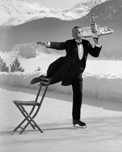Ice Skating Waiter, St. Moritz, 1932.  Photo by Alfred Eisenstaedt.: