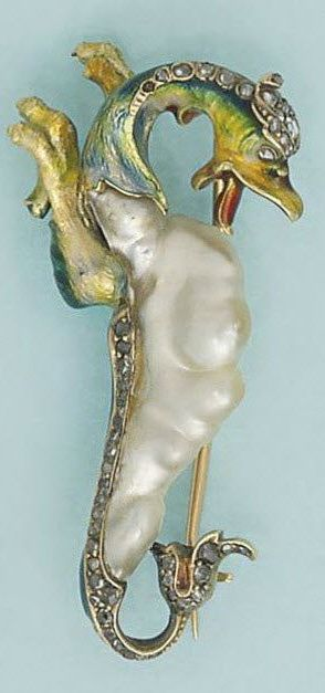 Pearl and gem-set dragon brooches The first a stylised dragon with polished pearl body and diamond lined base, to a painted head with further diamond-set detail, circa 1900: