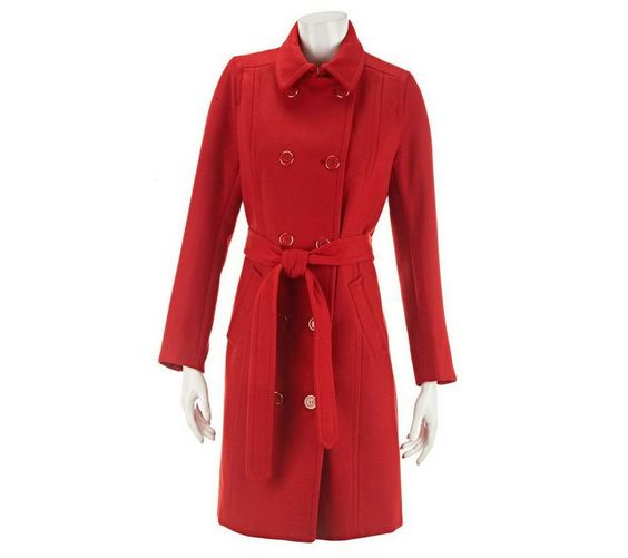 Isaac Mizrahi Double Breasted Design Melton Trench Coat Tulip Red 6 NEW A227671 #IsaacMizrahi #Trench