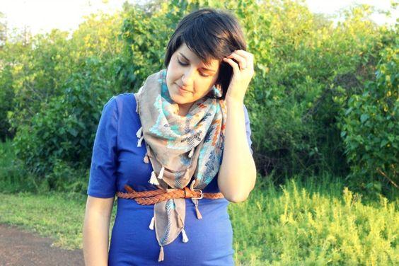 comfy dress + comfy scarf!     via Hello Hue