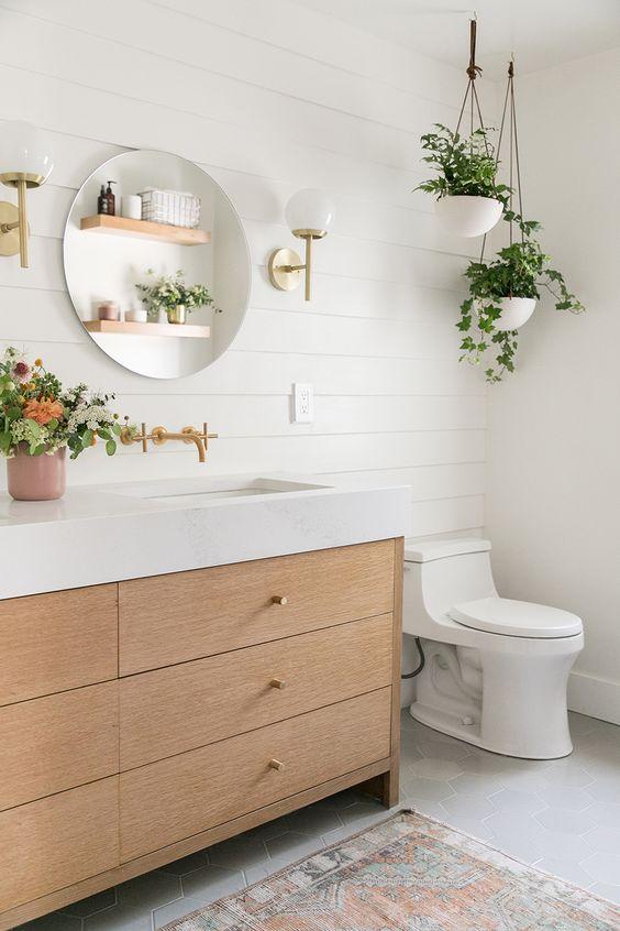 Plantas colgantes en el baño