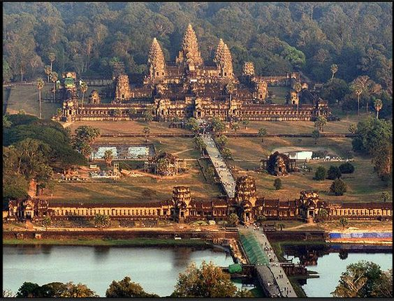 The Angkor Wat temple basks in evening sunlight in northwest Cambodia. The vast 800-year-old temple complex, built in the 12th century by King Suryavarman II, is the jewel in the crown of the war-ravaged nation's tourism industry.