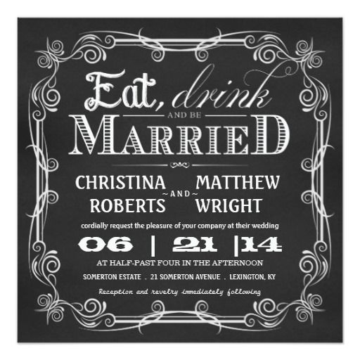 Eat Drink Be Married Square Wedding Invitations | Square Wedding Invitations,  Weddings And Wedding