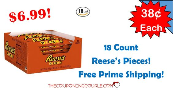WOOHOO! Get an 18 count box of Reeses Pieces for only $6.99! Great for a snack or a treat! Perfect for lunch box, movie night and more!  Click the link below to get all of the details ► http://www.thecouponingcouple.com/18-count-reeses-pieces-only-6-99-free-prime-shipping/ #Coupons #Couponing #CouponCommunity  Visit us at http://www.thecouponingcouple.com for more great posts!