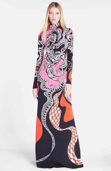 Emilio Pucci 'Scorpio' High Neck Silk Gown available at #Nordstrom
