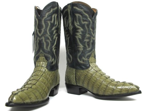Details about Men's Genuine Crocodile Alligator Exotic Tail Cowboy ...