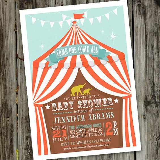 Circus Baby Shower Invitation PRINTABLE Circus by partymonkey