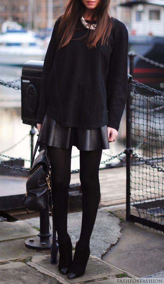 Amamos esse look! #inverno #couro #saia: