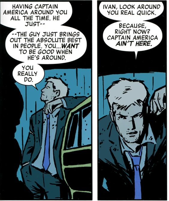 Clint Barton discusses the positive influence of Captain America. (Hawkeye #1):